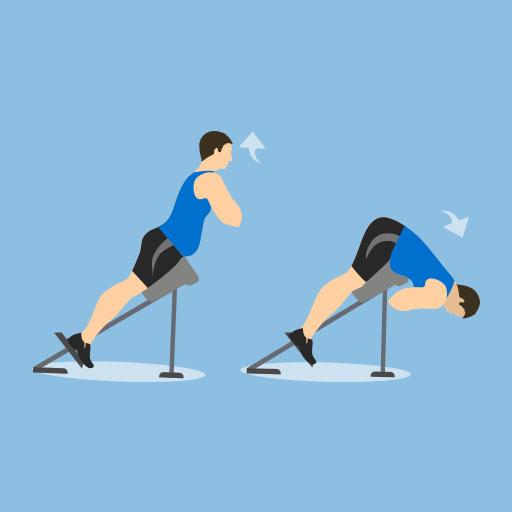 Mann macht Rückenstrecker oder auch back extension